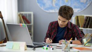 boy in home schooling